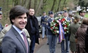 Ambassador Andrew Schapiro attends at a commemoration ceremony honoring the U.S. flyers who lost their lives near the Konopiště chateau close to Benešov.