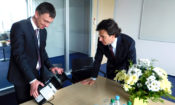 Ambassador Andrew Schapiro and Jan Bezdicek, Director of the company Rockwell Automation in the CR (photo U.S. Embassy Prague)