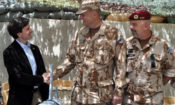 Ambassador Schapiro shakes hand with Chief of General Staff Josef Becvar at the Bagram base in Afghanistan.