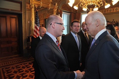 Vice President Joe Biden meets with Czech Prime Minister Bohuslav Sobotka at the White House.
