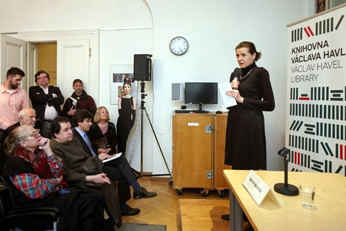 Vaclav Havel Library Director Marta Smolíková welcomed participants of a panel discussion on first visit of President Havel in the U.S.