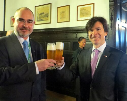 Ambassador Andrew Schapiro and Pilsen Mayor Martin Zrzavecký in the famous Pilsner brewery at the opening of Pilsen — 2015 European Capital of Culture on January 17, 2015. (photo U.S. Embassy Prague)
