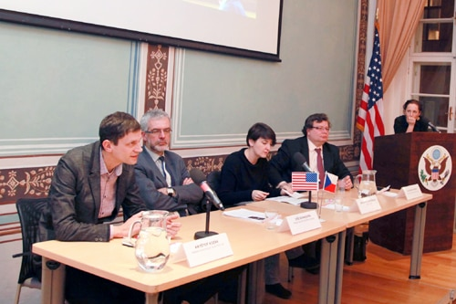 Panelists from the left: Kryštof Kozák of the Department of American Studies FSV UK; Jiří Schneider of Prague Security Studies Institute; journalist Kateřina Šafaříková; and Alexandr Vonda of Center of Transatlantic Relations (photo U.S. Embassy Prague)
