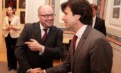 Ambassador Andrew Schapiro greets Dr. Wyatt Vreeland at the reception held at the American Center.