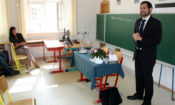 """""""U.S. Embassy Prague Press Attaché Daniel Ernst discusses with high school students in Ceske Budejovice the life of a U.S. diplomat in the Czech Republic, June 3, 2014. (photo U.S. Embassy Prague)"""""""
