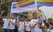Chargé d'Affaires Steven Kashkett and a team of others from the U.S. Embassy Prague marched in support of Prague Pride.