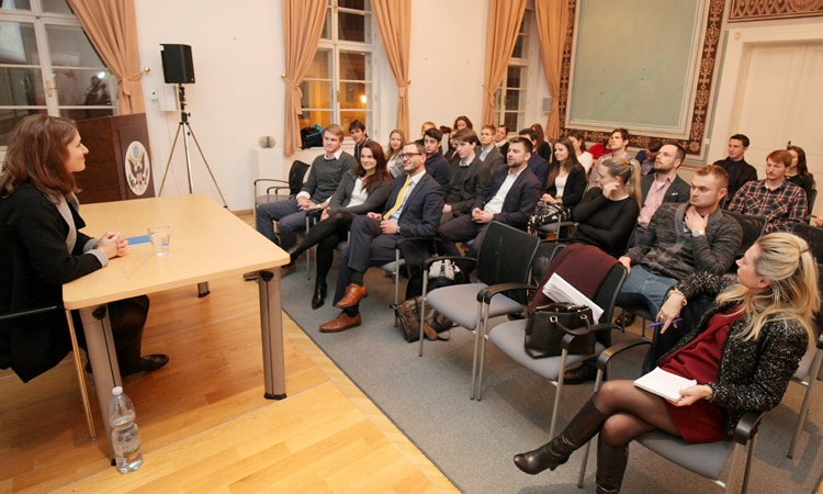 Deputy Assistant Secretary for Private Sector Exchange Robin Lerner met with young people at the American Center on January 22 during her visit to Prague to discuss the State Department's Exchange Visitor Program.