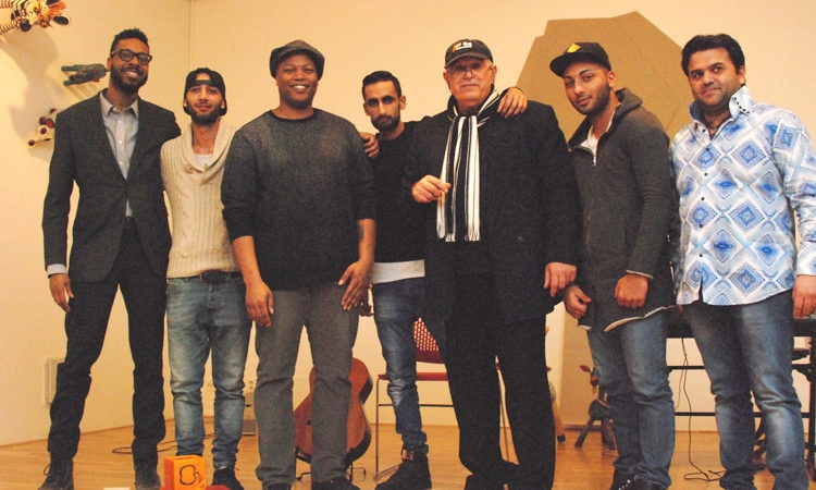 U.S. Fulbright Scholar Derrais Carter meets a group of talented Romani musicians working with Mr. Gejza Horváth.