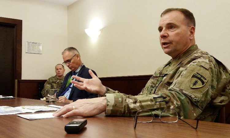 Commanding General U.S. Army Europe Ben Hodges met with Czech journalists after serving as the key note speaker at the 2016 third annual Combat Engineer Conference (CEC) in Prague on November 2, 2016.