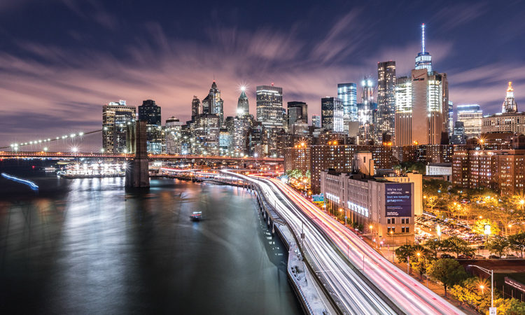 Winning picture by Adam Kahanek - Brooklyn Bridge and Manhattan at night