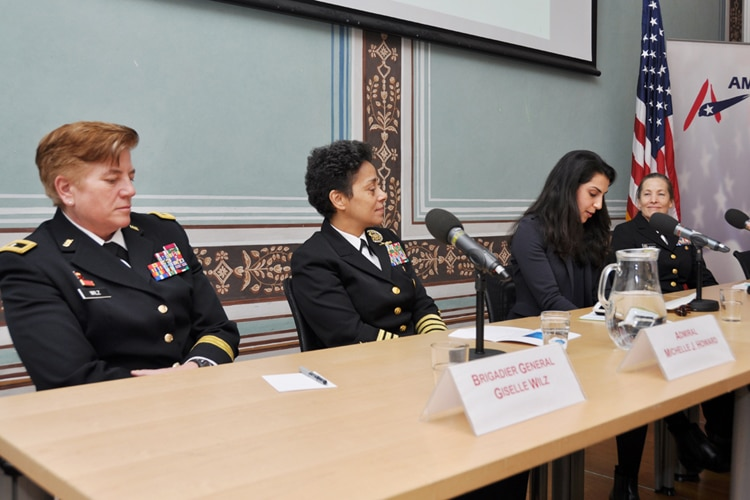 Brigadier General Giselle M. Wilz, Admiral Michelle Howard, political officer Nooshin Soltani and Rear Admiral Shoshana Chatfield at the American Center.