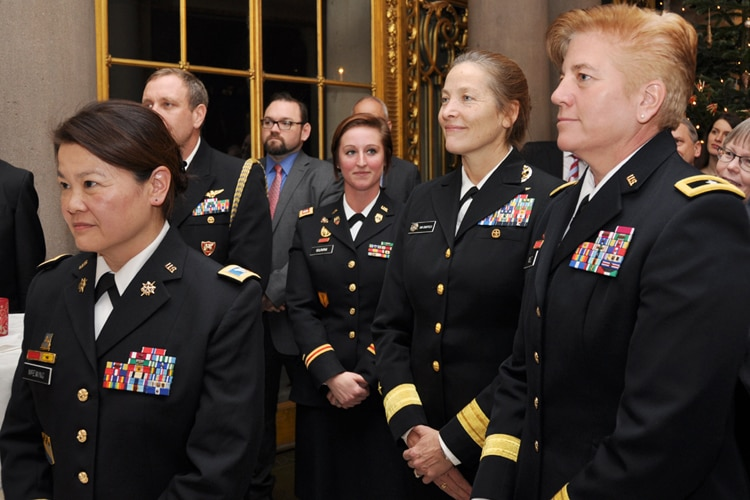 Brigadier General Giselle M. Wilz, Rear Admiral Shoshana Chatfield, Captain Clara Gumm and Colonel Mimi McEwing.