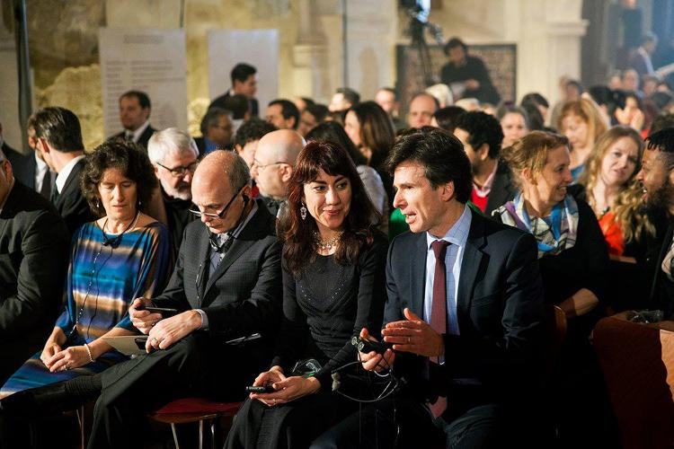 American writer Oksana Marafioti and Ambassador Andrew Schapiro at the the 2016 Roma Spirit Awards ceremony in Prague on December 10, 2016.