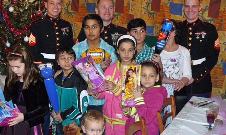 The U.S. Embassy Prague Marines donated gifts in Toys for Tots program