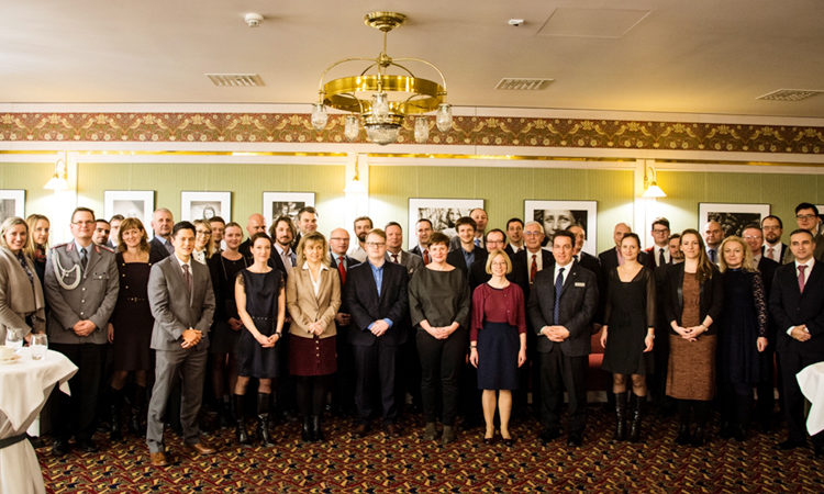 Chargé d'Affaires Kelly Adams-Smith and Lieutenant Colonel Michael Cushwa, Chief of the Office of Defence Cooperation, attended a meeting of 50 Marshall Center Alumni and guests that took place on February 8, 2017 in Prague.