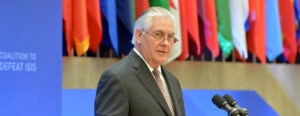 U.S. Secretary of State Rex Tillerson delivers opening remarks at the Meeting of the Ministers of the Global Coalition on the Defeat of ISIS at the U.S. Department of State in Washington, D.C. on March 22, 2017. [State Department Photo/ Public Domain]