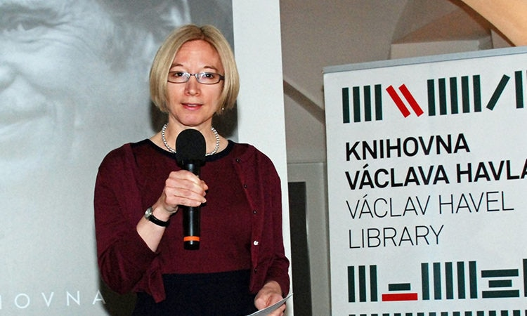 "Kelly Adams-Smith opened a conference ""Commemoration of the 70th Anniversary of the Marshall Plan"" on May 26, 2017 in the Vaclav Havel Library."