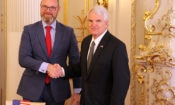Ambassador Stephen King shakes hand with Czech minister of education Robert Plaga on April 27, 2018.