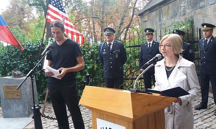 U.S. Chargé d'Affaires Kelly Adams-Smith joined commemoration of 9/11 at Prague Monument to New York Firefighters.